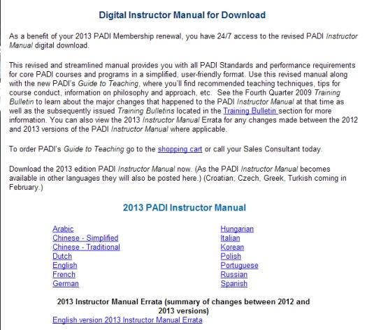 2013 PADI Instructor Manual