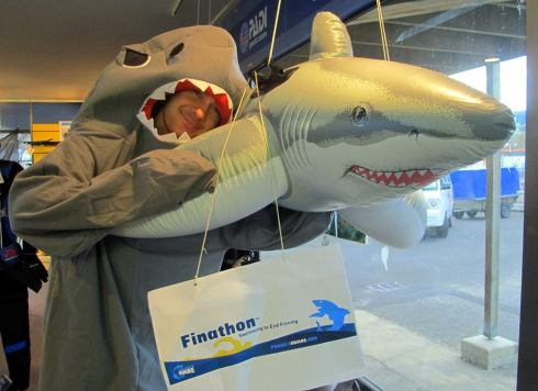 Instructor Chris dressed as a shark