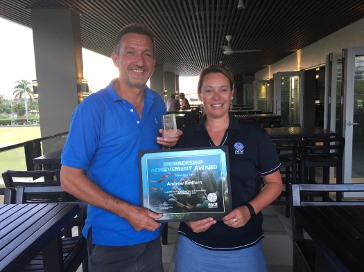 Andrew Redfern celebrating 25 years of PADI membership
