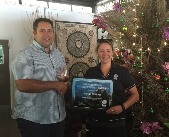 Marc McElrath celebrating 20 years of PADI membership
