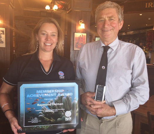 Ray Dolman celebrating 25 years of PADI membership